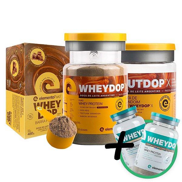 Kit Wheydop X Whey Protein 900g + Nutdop X Pasta de Amendoim 500g + Barra Proteica wheydop X Elemento Puro 480g + Bônus