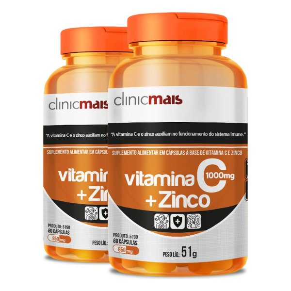 Kit 2 Vitamina C + Zinco Clinicmais 850mg 60 Cápsulas