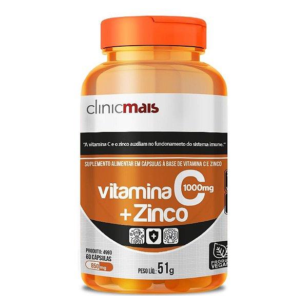 Vitamina C + Zinco Clinicmais 850mg 60 Cápsulas Vegana