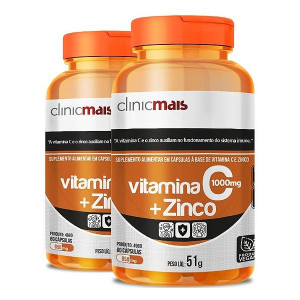 Kit 2 Vitamina C + Zinco Clinicmais 850mg 60 Cápsulas Vegana