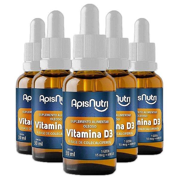 Kit 5 Vitamina D3 em Gotas Apisnutri 30ml
