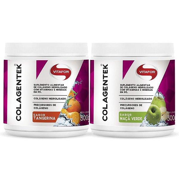 Kit 2 Colágeno Hidrolisado Colagentek Vitafor 300g Tangerina + Maçã Verde