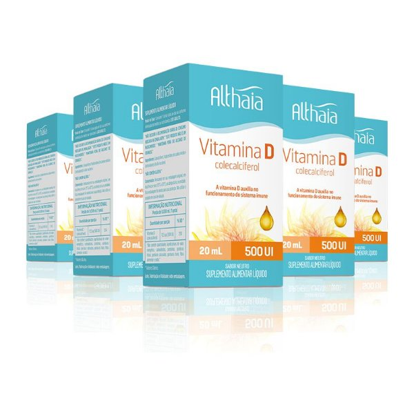 Kit 5 Vitamina D3 Colecalciferol 500ui Althaia 20 ml