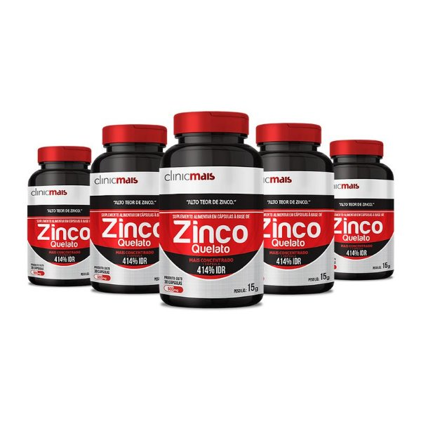 Kit 5 Zinco Quelato 500mg Clinic Mais 30 cápsulas