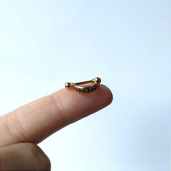 Piercing para Orelha/Hélix Cravejada com pedra zirconias - folheado a ouro