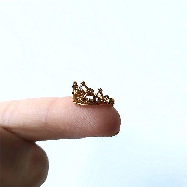 Piercing para Hélix/Orelha - Coroa folheada a Ouro