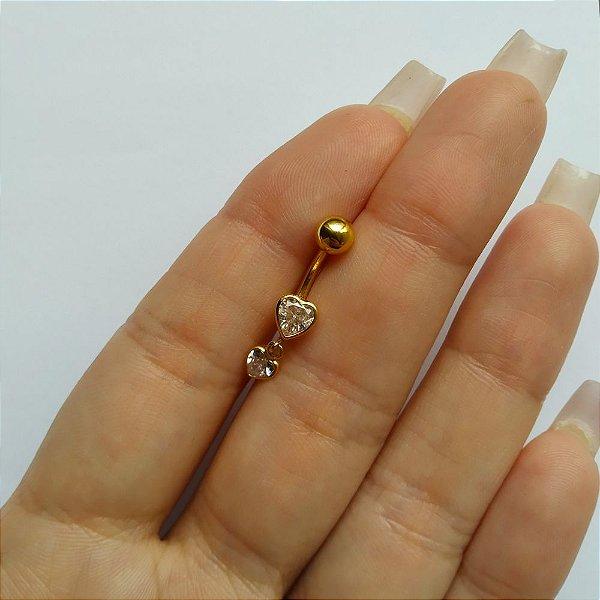 Piercing para o Umbigo 2 corações- haste curta de 10mm