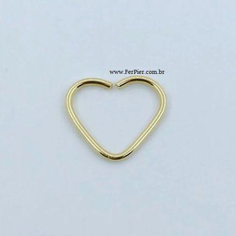 Piercing para a orelha -  Coração - Ouro amarelo 18K