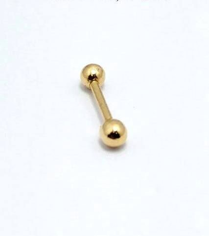 Piercing de Cartilagem/Tragus - Modelo Tradicional - Ouro amarelo 18K