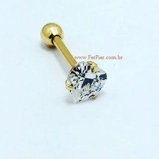 Piercing para Tragus/Cartilagem - Coração de Pedra com garras em Ouro amarelo 18K