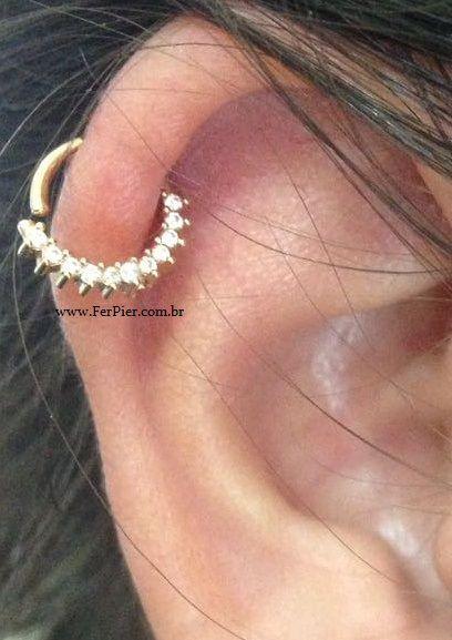 Piercing para Septo/Cartilagem Helix - Argola Cravejada em Ouro Amarelo 18K