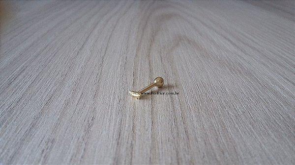 Piercing para o tragus - Pena em Ouro amarelo 18K