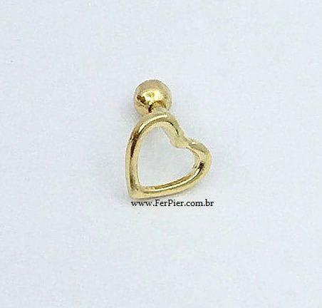 Piercing para orelha - Coração vazado - Ouro amarelo 18k