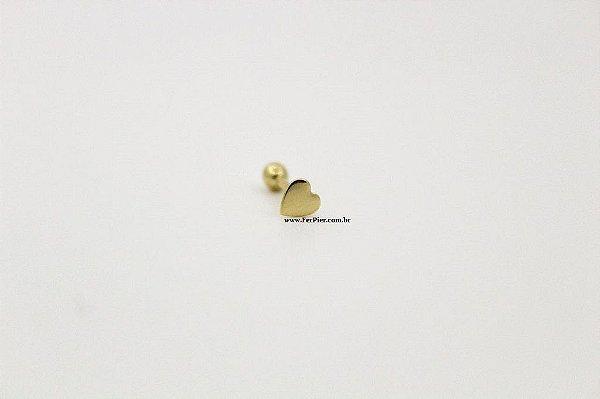 Piercings para o Tragus - Coração em Ouro amarelo 18K