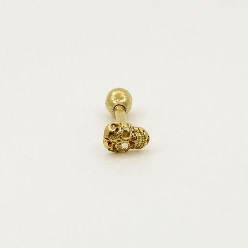 Piercing para Cartilagem/Tragus - Modelo: Caveira de Ouro Amarelo 18K