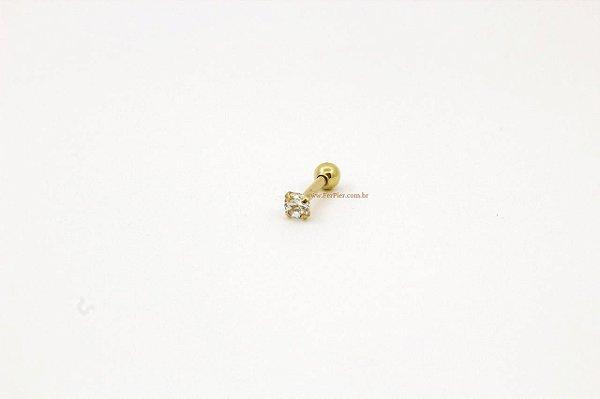 Pierncing para Tragus - Pedra quadrada 2mm folheado a ouro