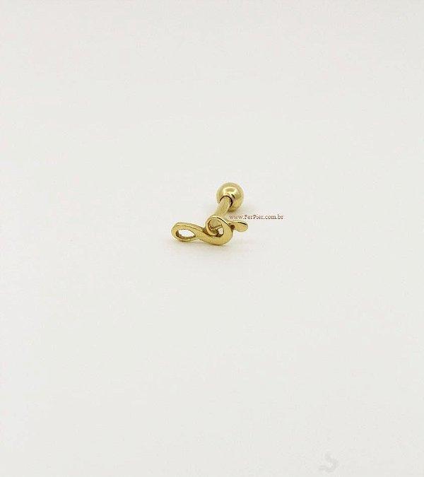 Piercing para Tragus em Ouro 18K - Clave de Sol