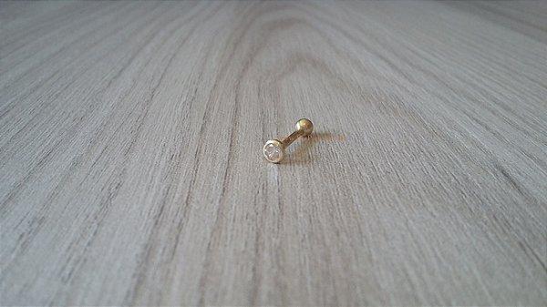 Piercing para Tragus/Cartilagem - Ouro amarelo 18k - Pedra com 3mm