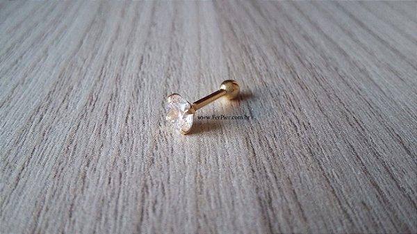 Piercing para Tragus em Ouro amarelo 18K - Pedra com 5mm