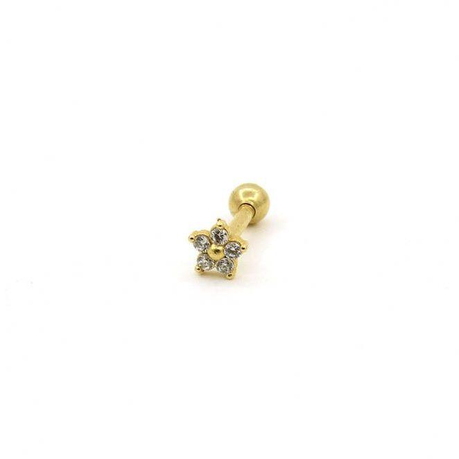Piercing para o Tragus - flor - Ouro amarelo 18K
