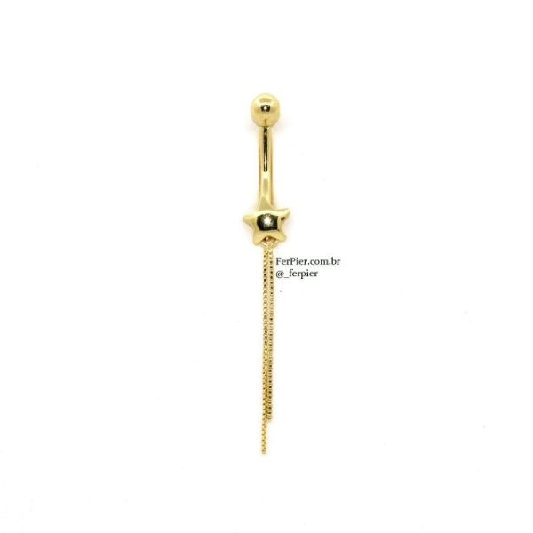Piercing de umbigo em Ouro amarelo 18k 750 - Estrela com 2 correntes