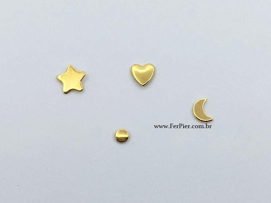Piercing de dente - Opçoes: Bolinha/Coraçao/Lua/Estrela - Ouro amarelo 18K - 1 unidade