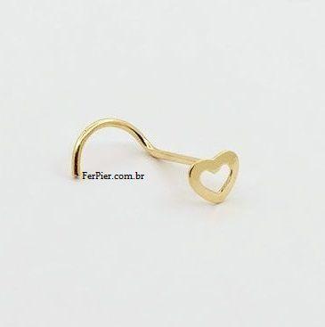 Piercing de nariz - Nostril de coracao - Ouro Amarelo 18K