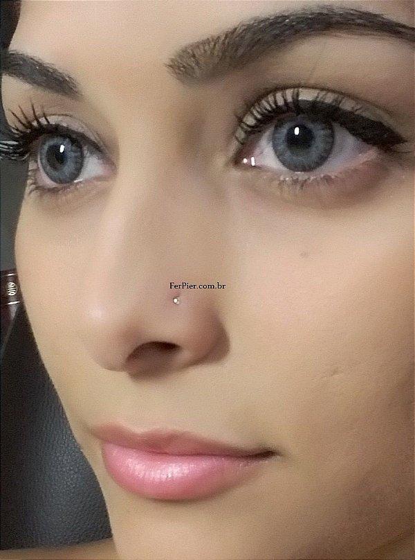 Piercing de nariz - pedra zirconia P - Ouro branco 18K