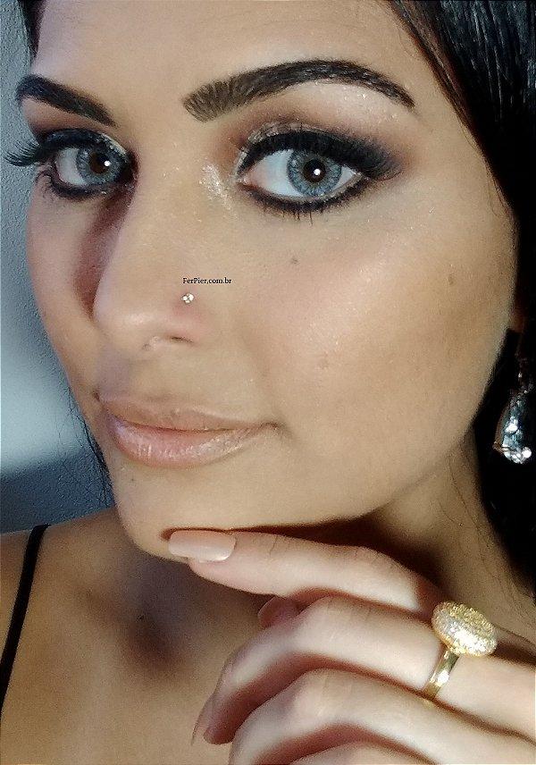 Piercing de nariz com pedra zirconia G - Ouro Amarelo 18K