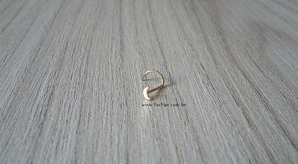 Piercing de nariz- modelo Lua em Ouro amarelo 18k 750 + flanela polidora