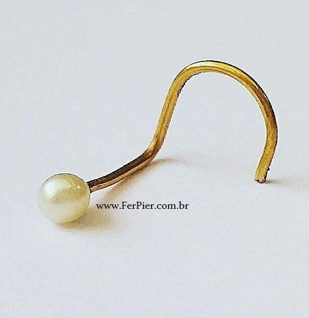 Piercing com Pérola verdadeira para o nariz - Ouro amarelo 18K