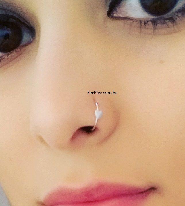 Argola de ouro Branco para nariz 18k 750 com coracao + flanela polidora