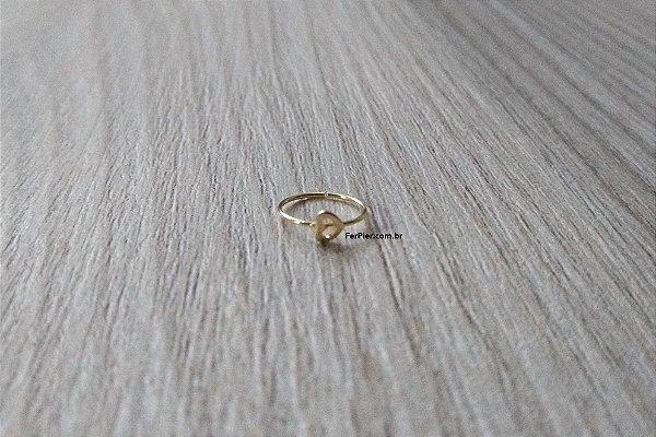 Argola para nariz - Coração vazado - Ouro amarelo/branco 18K