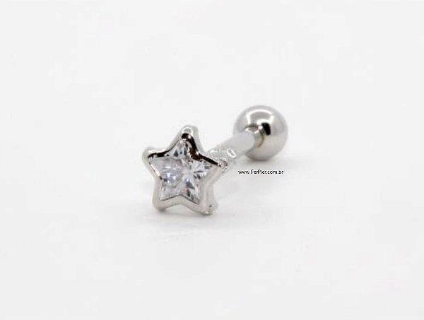 Piercing de Estrela para Tragus/Hélix/Orelha em Prata