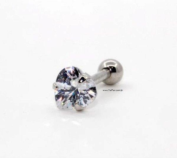 Piercing para Tragus/Hélix/Orelha - Prata  - pedra de 4mm