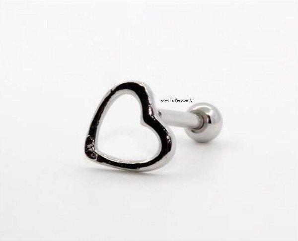 Piercing para Tragus/Orelha/Hélix - Coração Vazado - Prata