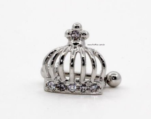 Piercing para Orelha/Hélix - Modelo: Coroa com pedra zircônia - Prata