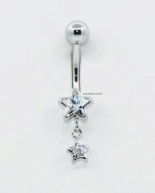 Piercing para o Umbigo Estrelas -Prata
