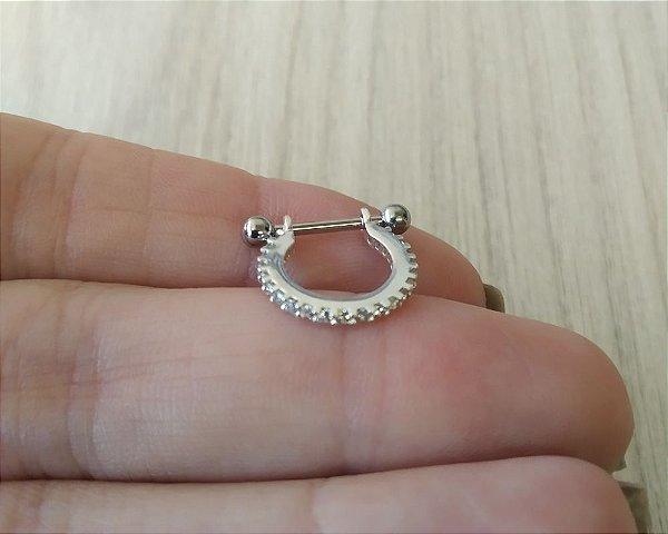 Piercing para Conch - Pedras Zirconias - Prata