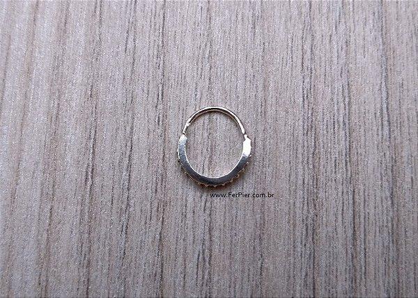 Piercing para Cartilagem/Orelha/Hélix em Prata 950 - Argola cravejada com pedras zirconias + flanela polidora