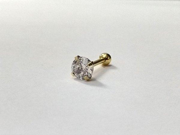 Pierncing para Tragus/Helix - Pedra redonda com 5mm - Folheado a Ouro