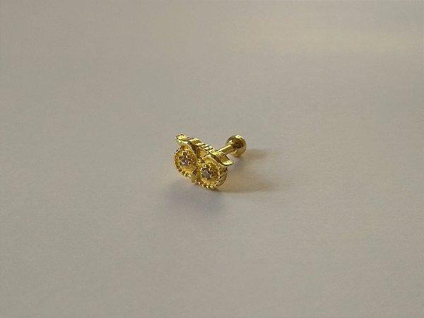 Pierncing para Tragus/Helix - Coruja com 2 pedras  - Folheado a Ouro
