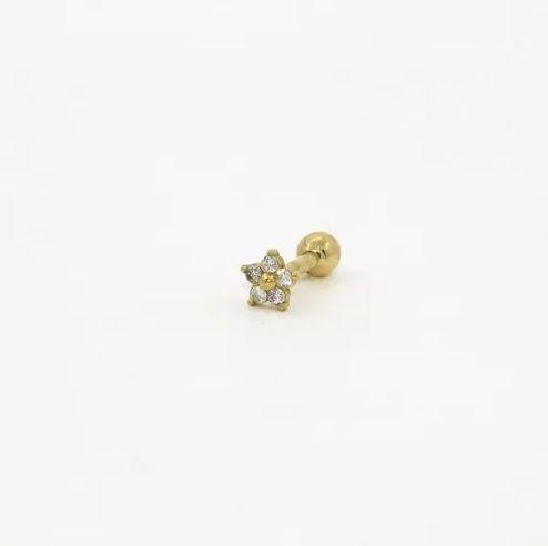 Pierncing para Tragus/Helix - Flor - Folheado a Ouro