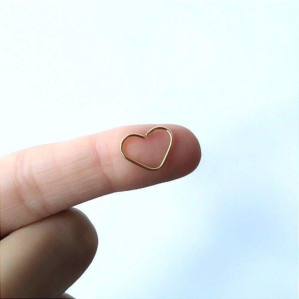 Piercing para Tragus/Helix/Orelha - Coração aberto - Folheado a Ouro