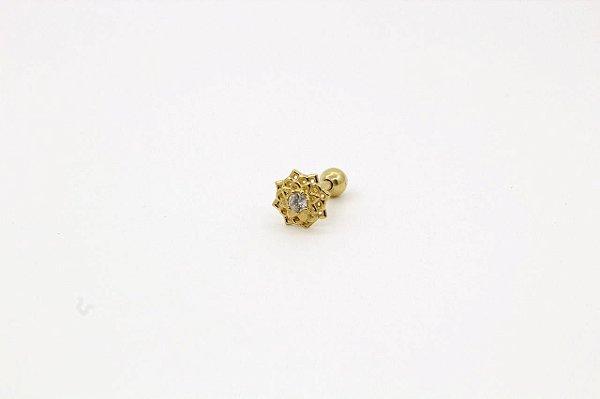 Piercing para Tragus/Helix - Flor de lótus - Folheado a Ouro