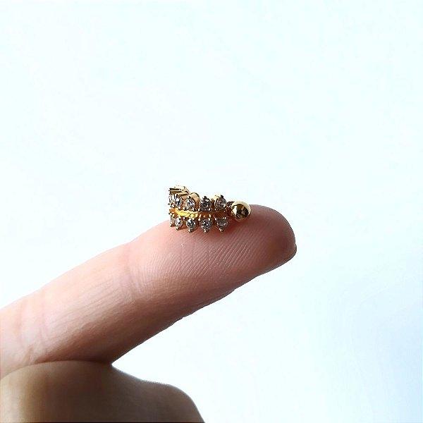 Piercing para Helix - Cravejado duplo - Folheado a Ouro