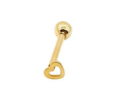 Piercing para Tragus/Helix - Coraçao vazado pequeno - Folheado a Ouro