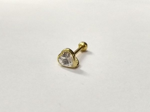 Piercing  Folheado a Ouro para Orelha - Pedra de 4mm