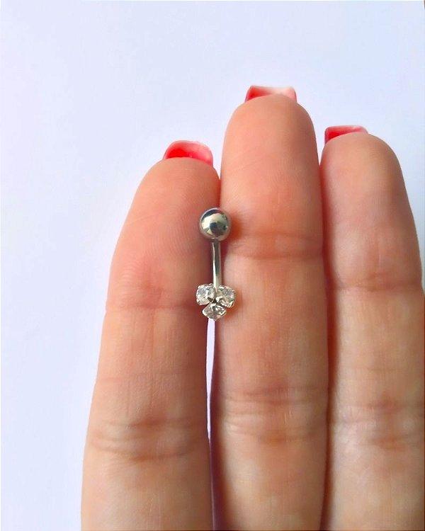 Piercing para o Umbigo - haste curta de 10mm - Prata