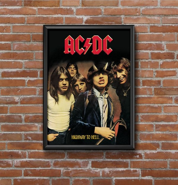 Quadro Placa Decorativo Banda AC/DC Highway To Hell Preto